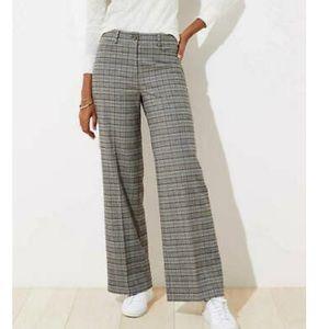 LOFT high-waisted plaid trousers